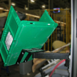 Articulating Arm Mounted Tote Bin
