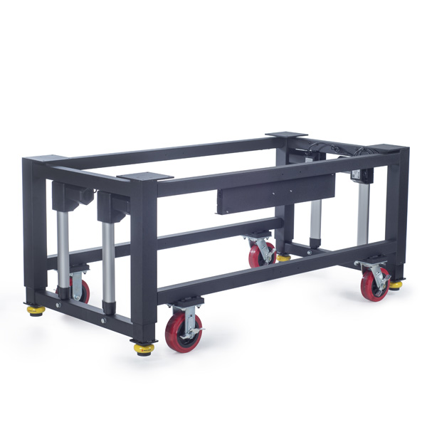 A modular height adjustable steel base with rolling casters that can be used to support custom industrial machines or used as an industrial workbench or workstation